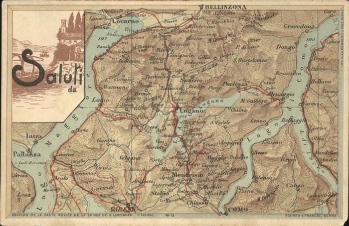Landkarte auf Ak Bellinzona Como Lugano