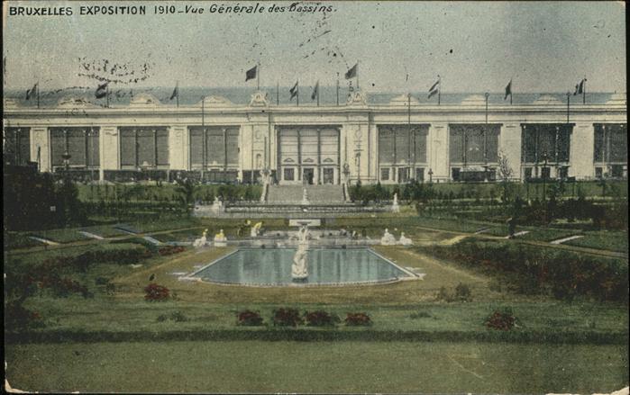 Exposition Bruxelles 1910 Vue Generale des Bassins / Expositions /