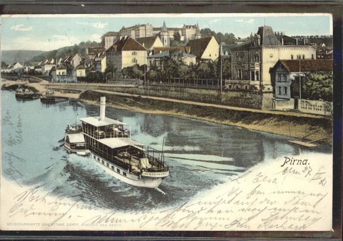 Dampfer Seitenrad Pirna Ottmar Zieher Heliocolorkarte Kat. Schiffe