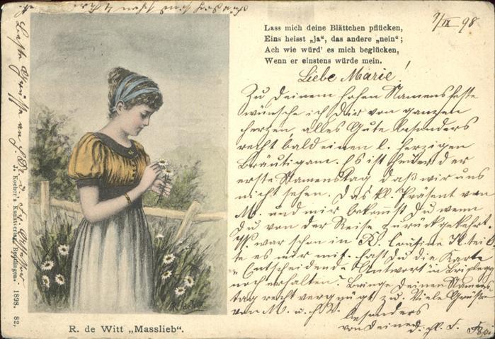 Kuenstlerkarte R. de Witt Masslieb Nr. 82 Gedicht