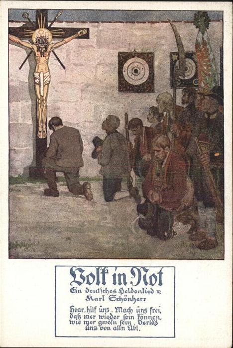 Jesus Heldenlied Karl Schoenherr Kreuz Kat. Christentum
