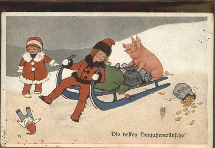 Schlitten Schnee Neujahrsgruesse Schwein Geldsack Kat. Sport