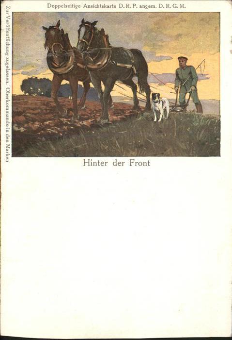 Schuetzengraben Landwirtschaft Hund Pferd WK1 Kat. Militaria