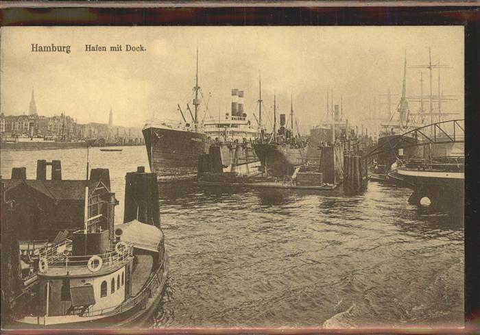 Dampfer Oceanliner Schiffe Hamburg Hafen mit Dock Kat. Schiffe