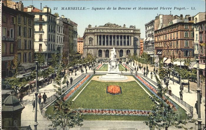 ca15171 Marseille Square Bourse Monument Pierre Puget Kategorie. Marseille Alte Ansichtskarten