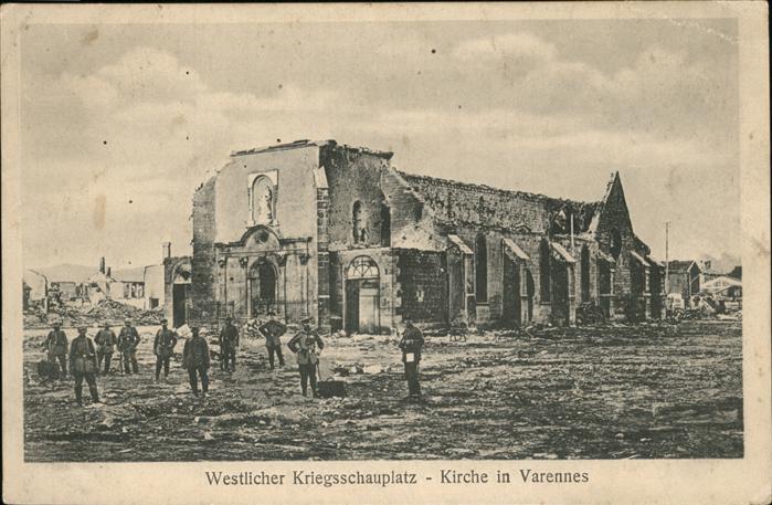 Varennes d Amiens Ruines de guerre Kat. Varennes