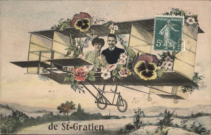 Saint-Gratien Oise Flugzeug Blumen Kat. Saint-Gratien