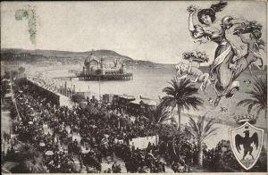 hw16580 Nice Alpes Maritimes Wappen, Strand, Promenade Kategorie. Nice Alte Ansichtskarten
