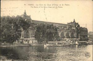 Paris La Gare du Quai d Orsay et le Palais au bord de la Seine Kat. Paris