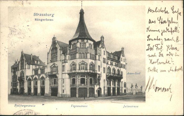 Strasbourg Alsace Strassburg Elsass Saengerhaus Pfalzburgerstrasse Vogesenstrasse Arion Saal Julianstrasse x
