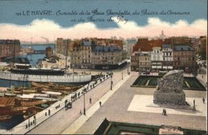 Le Havre Place Gambetta Bassin Commerce Bassin Roy Dampfer *