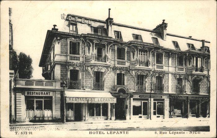 wx38593 Nice Alpes Maritimes Nice Hotel Lepante Rue * Kategorie. Nice Alte Ansichtskarten