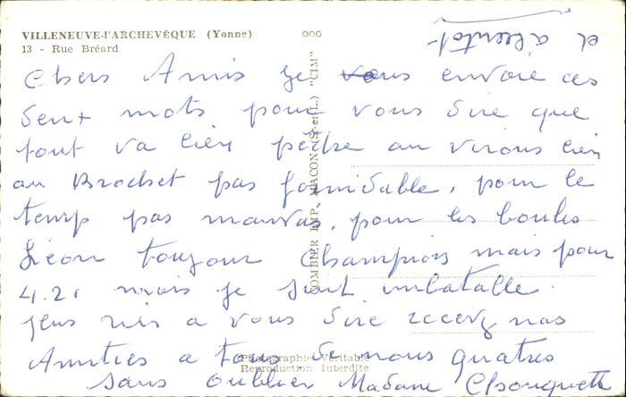 Villeneuve-l Archeveque Villeneuve-l'Archeveque Yonne Rue Breard * 1
