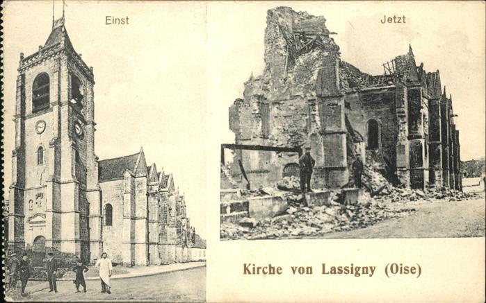 Lassigny Kirche einst und jetzt