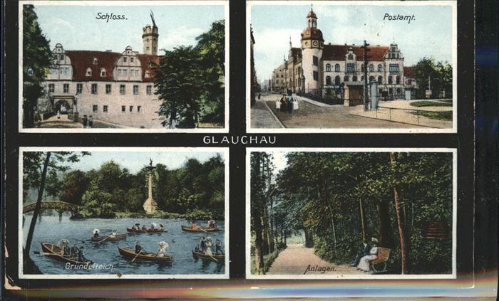 Glauchau Schloss Postamt Gruendelteich Ruderboote Kat. Glauchau