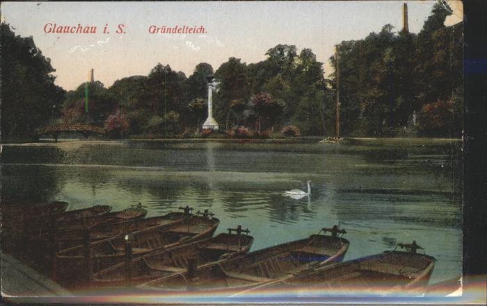 Glauchau Gruendelteich Ruderboote Schwan Kat. Glauchau