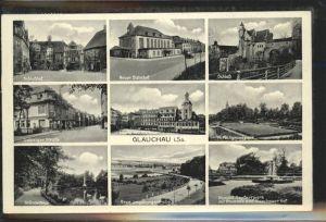 Glauchau Schloss Leipziger Strasse Hirschgrundpark Gruendelteich Kat. Glauchau