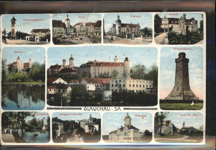 Glauchau Schloss Postamt Bismarckturm Kat. Glauchau