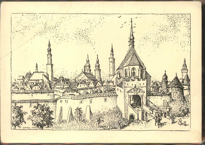 Zittau Kuenstlerkarte Frauentor vor Zerstoerung 1757 700 Jahre Zittau Kat. Zittau