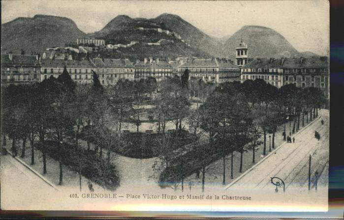 Grenoble Place Victor Hugo et Massif de la Chartreuse Kat. Grenoble