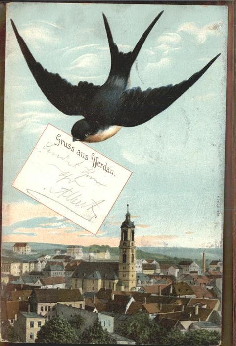 Schwalbenkarte Werdau Zieher Ottmar Verlag  Kat. Rahmenkarte