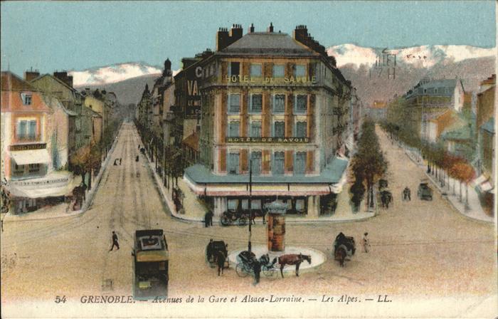 Grenoble Avenues de la Gare et Alsace Lorraine Les Alpes Kat. Grenoble
