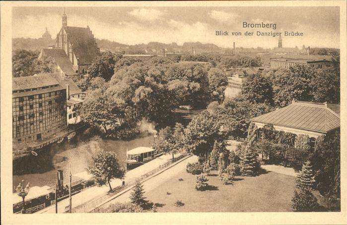 Bromberg Pommern Westpreussen Blick von Danziger Bruecke Kat. Bydgoszcz