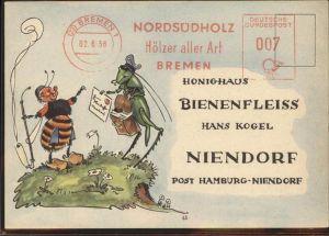 Postbote Brieftraeger Biene Honighaus Bienenfleiss Hans Kogel Niendorf / Post /