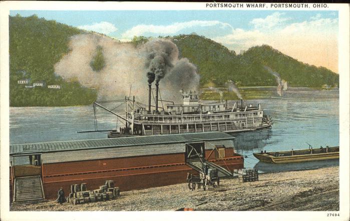 Dampfer Binnenschifffahrt Portsmouth Wharf Ohio Kat. Schiffe