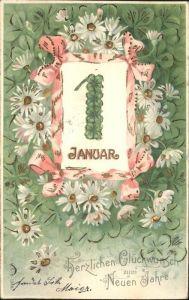 Datumskarte Blumen Neujahr Kat. Besonderheiten