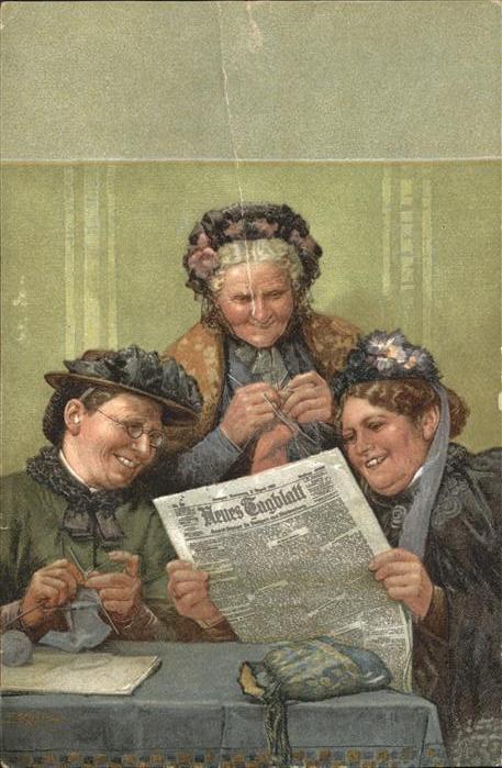 Zeitung Neues Tagblatt Frauen stricken Kat. Druckerei