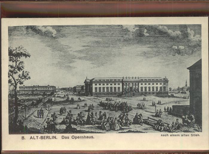 Berlin Opernhaus alter Stich Kat. Berlin