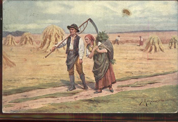 Kuenstlerkarte J. Mathauser Landwirtschaft Feldarbeit  Kat. Kuenstlerkarte