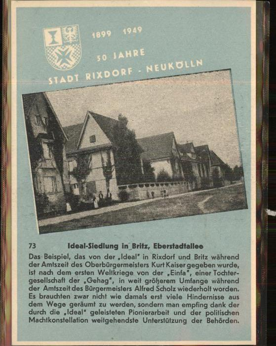 Rixdorf Berlin Ideal-Siedlung Britz Eberstadtallee / Berlin /Berlin Stadtkreis