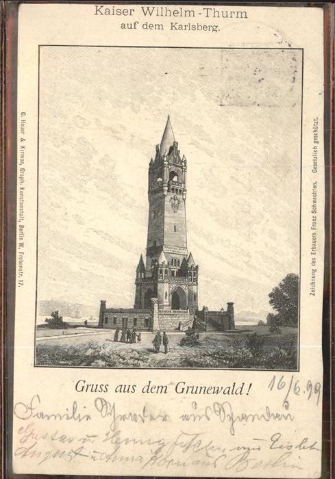 Grunewald Berlin Kaiser Wilhelm Turm Kat. Berlin