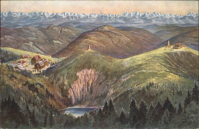 Feldberg Schwarzwald Panoramakarte mit Schweizer Alpen Kat. Feldberg (Schwarzwald)
