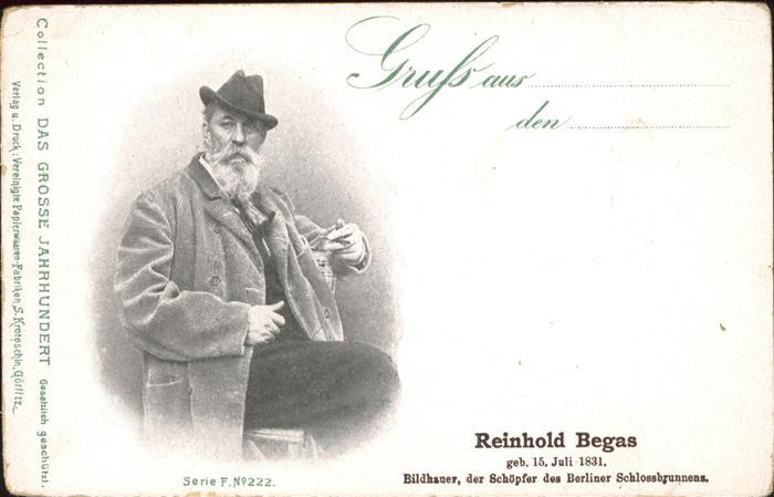Kuenstlerkarte Reinhold Begas Bildhauer Schlossbrunnen Berlin Kat. Kuenstlerkarte