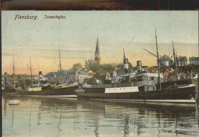 Hafenanlagen Flensburg Innenhafen Dampfschiffe Kat. Schiffe
