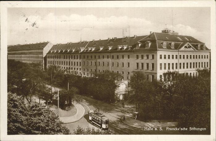 Halle Saale Francke sche Stiftungen Strassenbahn Kat. Halle