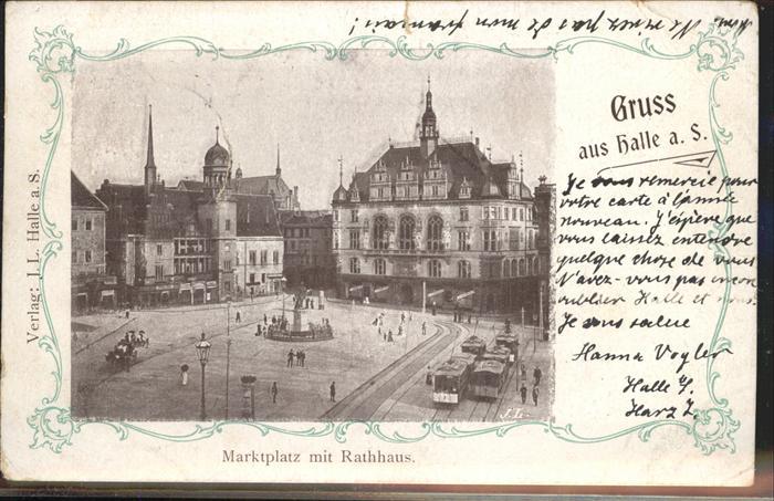 Halle Saale Marktplatz Rathaus Strassenbahn Kat. Halle