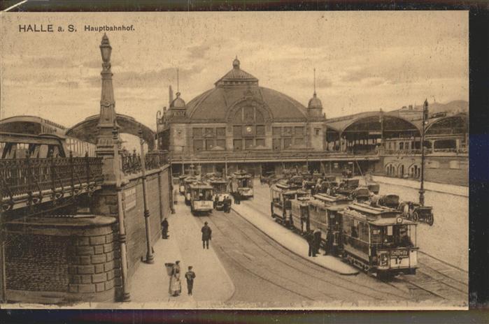 Halle Saale Hauptbahnhof Strassenbahn Kat. Halle