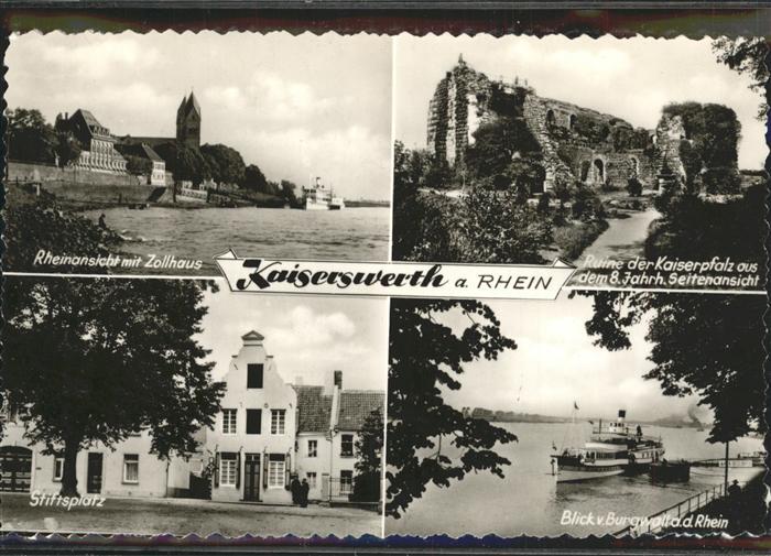 Kaiserswerth Rhein Zollhaus Stiftsplatz Burgwall Ruine der Kaiserpfalz Kat. Duesseldorf