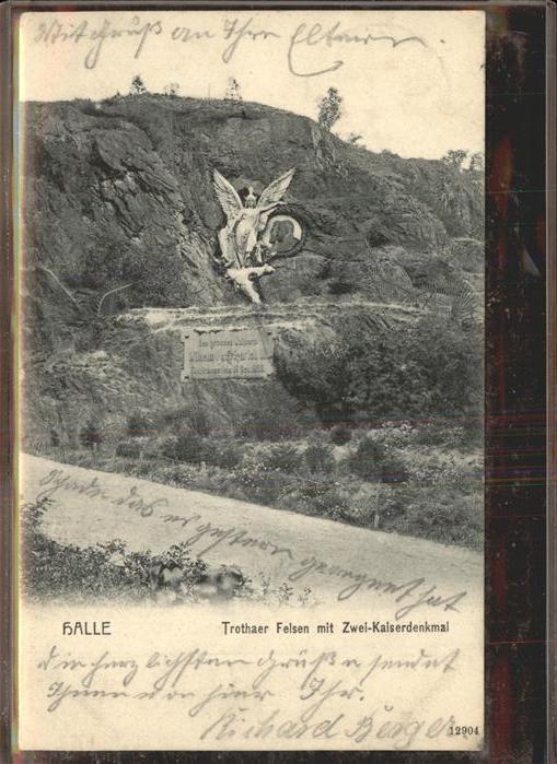 Halle Saale Trothaer Felsen Zwei Kaiserdenkmal Kat. Halle