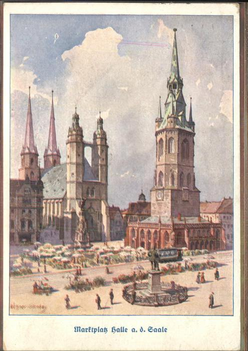 Halle Saale Marktplatz Denkmal Strassenbahn Kuenstlerkarte Kat. Halle