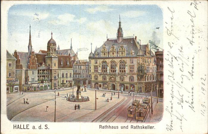 Halle Saale Rathaus Ratskeller Strassenbahn Denkmal Kat. Halle