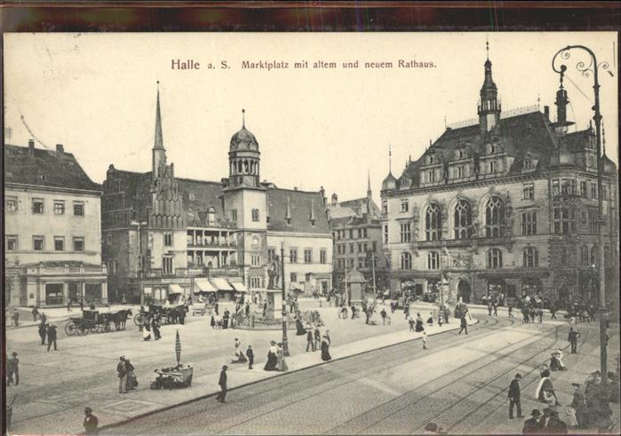 Halle Saale Marktplatz Altes und Neues Rathaus Denkmal Kat. Halle