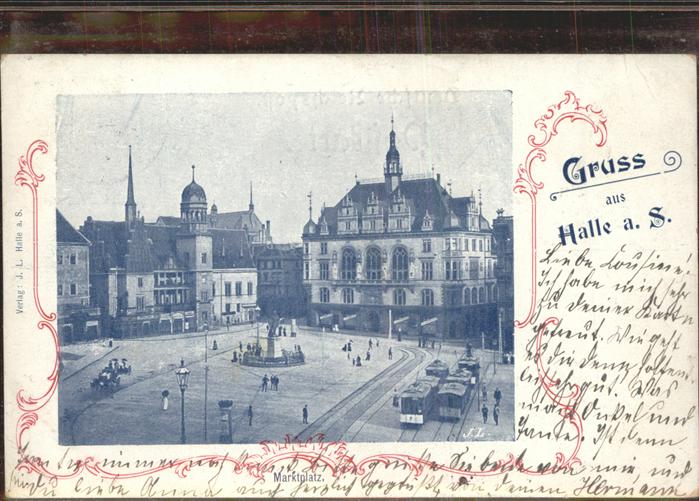 Halle Saale Markt Strassenbahn Denkmal Kat. Halle