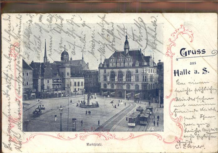 Halle Saale Marktplatz Strassenbahn Denkmal Kat. Halle