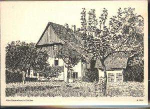 Dietikon Altes Bauernhaus Kuenstlerkarte A. Wild Aufklappkarte Kat. Dietikon
