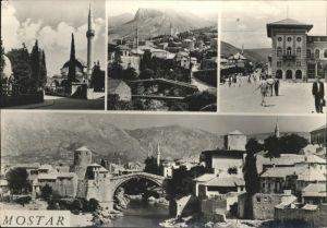 Mostar Moctap Alte Bruecke Minarett Panorama / Mostar /